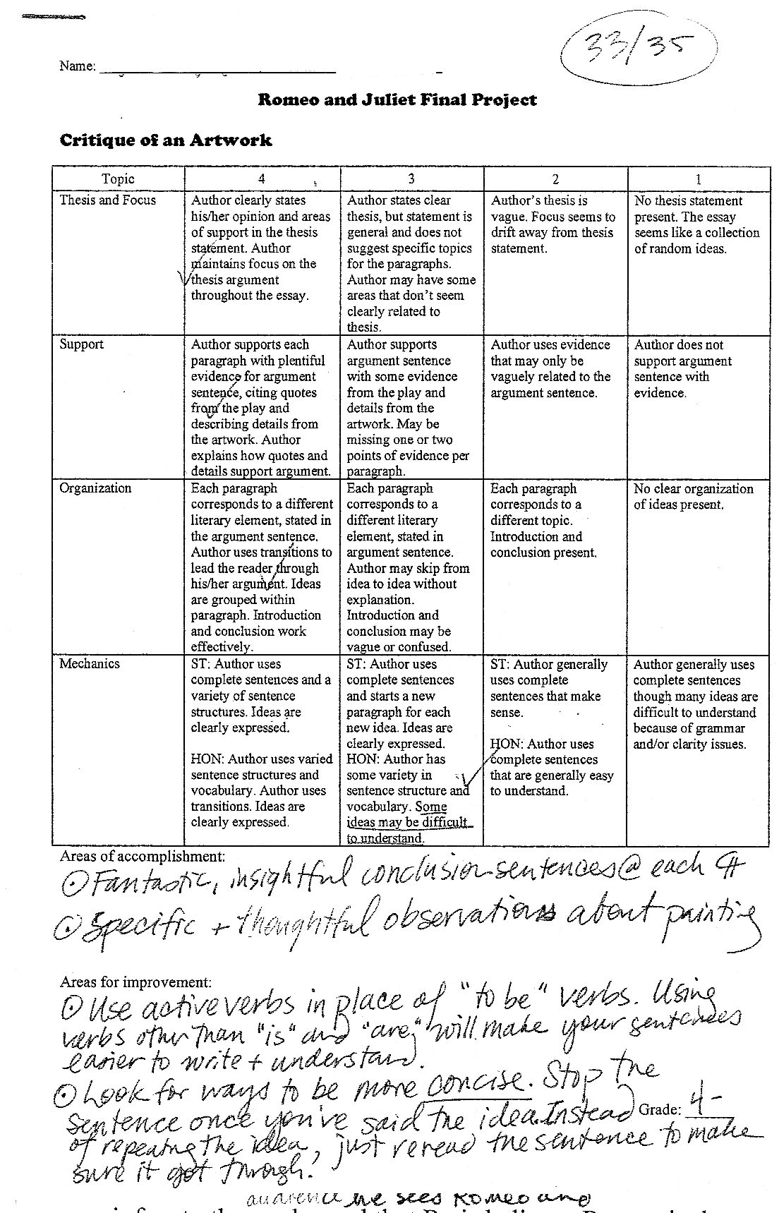 Etonnant Romeo And Juliet Essay Rubric