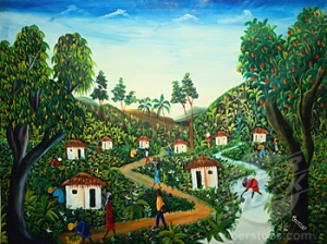 Eight Huts in Haiti Roosevelt (b.1952 Haitian) Oil on canvas Private Collection
